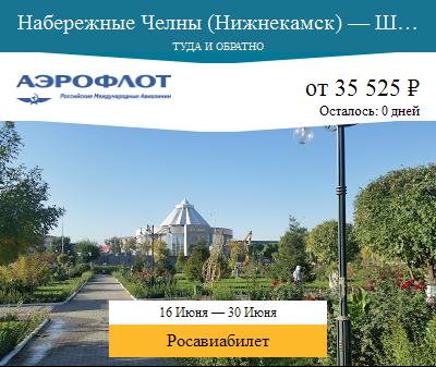 Дешёвый авиабилет Набережные Челны (Нижнекамск) — Шымкент