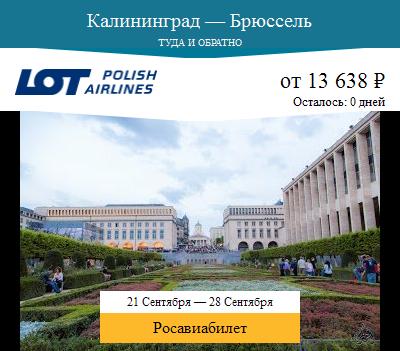 Дешёвый авиабилет Калининград — Брюссель
