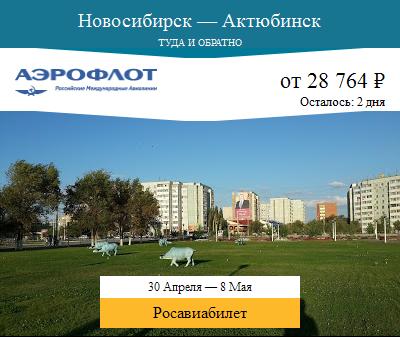 Дешёвый авиабилет Новосибирск — Актюбинск