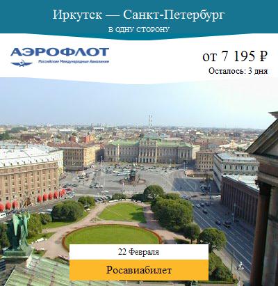 Дешёвый авиабилет Иркутск — Санкт-Петербург