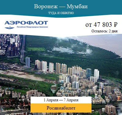 Дешёвый авиабилет Воронеж — Мумбаи